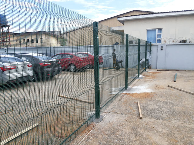 Installation of green fence wires in Lagos by Bisi-Best Nigeria Limited